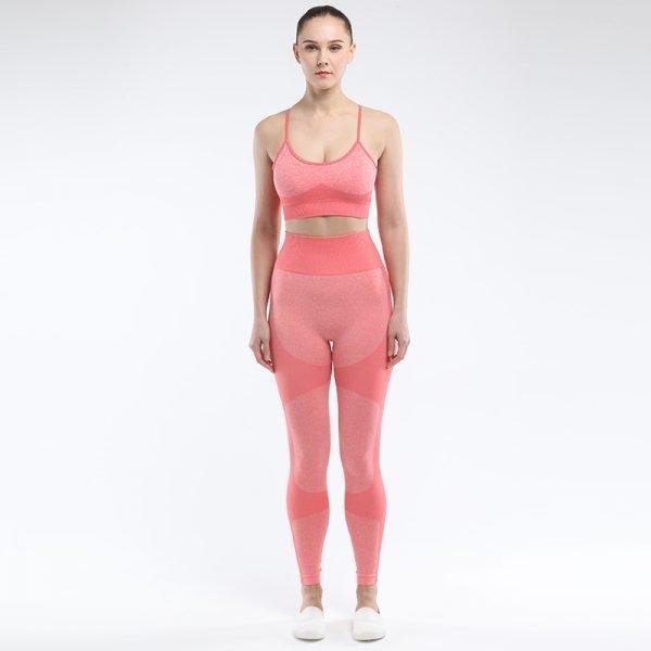 Seamless 2 piece yoga set orange red Force