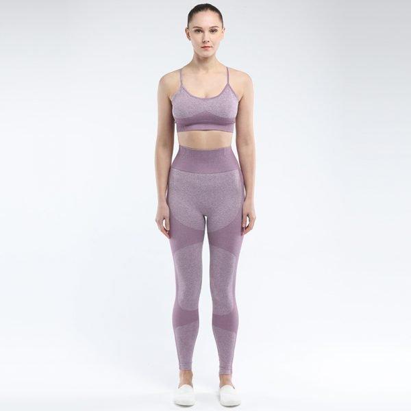 Seamless 2 piece yoga set light purple Force