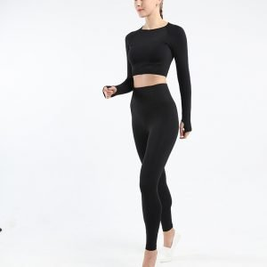 Seamless legging set black Effect