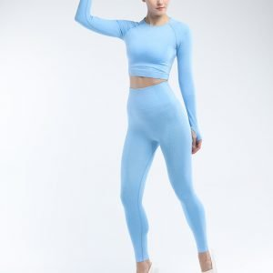 Long sleeve seamless yoga top blue Effect