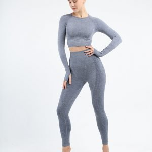 Seamless legging set blue grey Effect