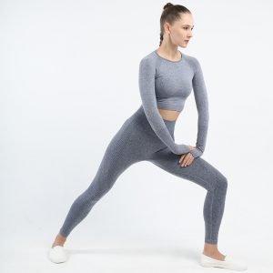 Long sleeve seamless yoga top blue grey Effect