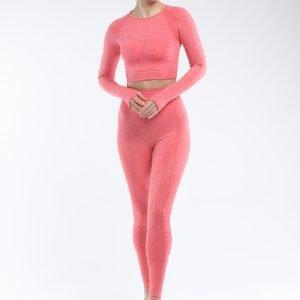 Long sleeve seamless yoga top orange red Effect