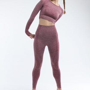 Long sleeve seamless yoga top wine Effect