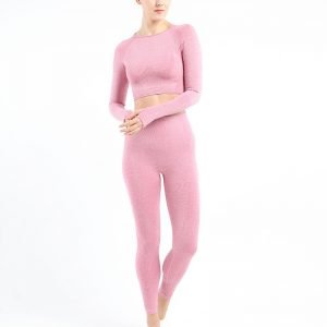 Long sleeve seamless yoga top pink Effect