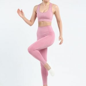 Seamless yoga bra legging set pink Effect