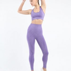 Seamless yoga bra legging set purple Effect