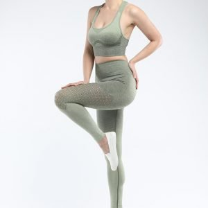 Bra and legging sets army green Hollow