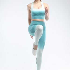 Bra and legging sets blue green Hollow