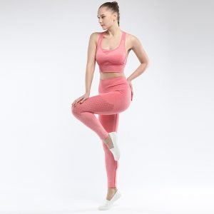 Bra and legging sets orang red Hollow