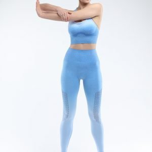 Bra and legging sets sky blue Hollow