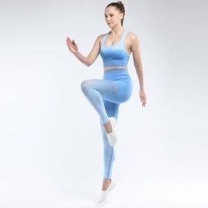 Bra and legging sets sky blue Hollow