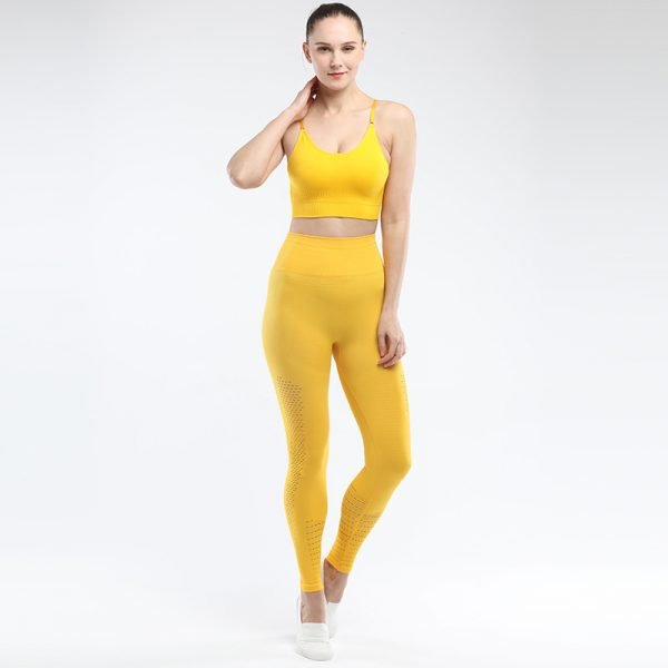 legging and bra workout set yellow Park