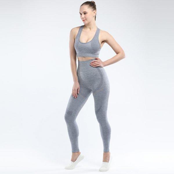 legging and sports bra set light grey Win