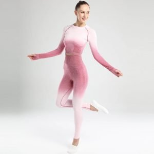 Long sleeve seamless yoga set rose red Change