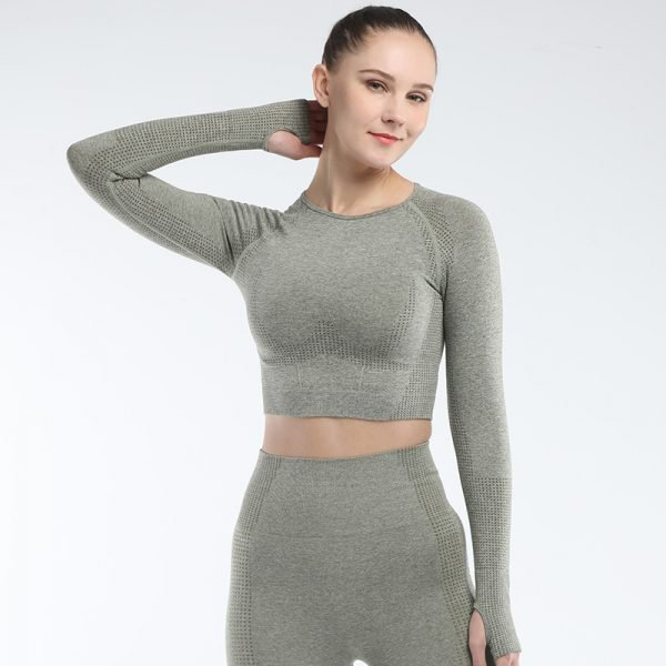 long sleeve seamless yoga top army green