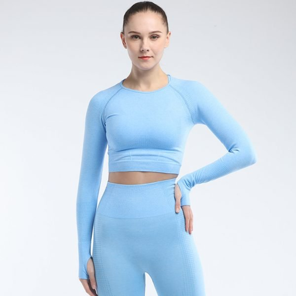 long sleeve seamless yoga top blue