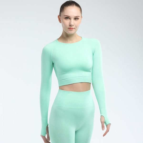 long sleeve seamless yoga top green