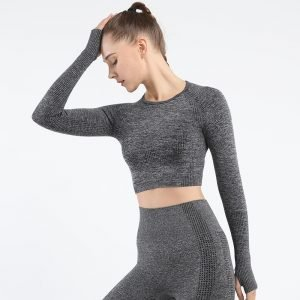 Long sleeve seamless yoga top grey Effect