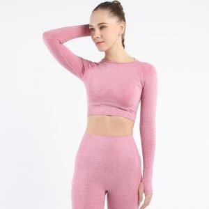 Long sleeve seamless yoga top pink Effect