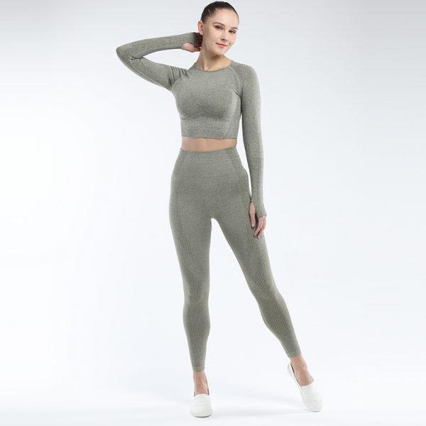 seamless activewear army green long sleeves yoga leggings tops sets