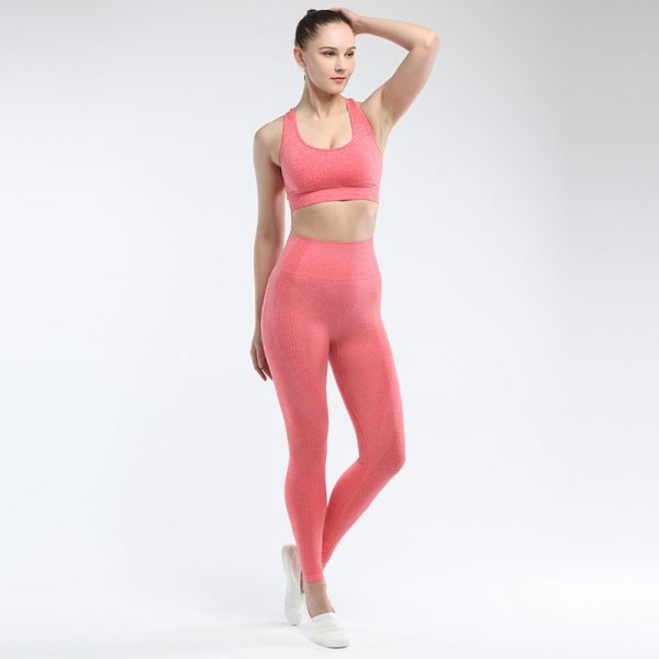 seamless activewear black orange leggings bra sets
