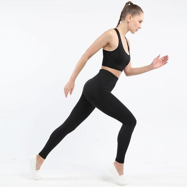 seamless activewear black yoga leggings bra sets