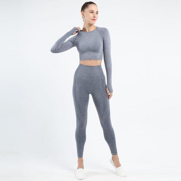 seamless activewear blue grey yoga leggings long sleeves tops sets