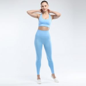 Seamless yoga bra legging set blue Effect