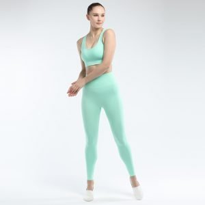 Seamless yoga bra legging set green Effect