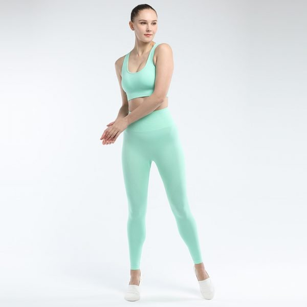 seamless activewear green yoga leggings bra sets