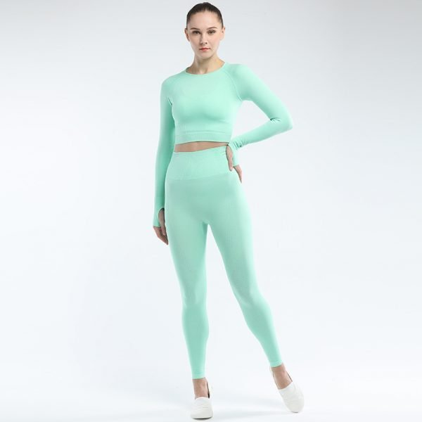 seamless activewear green yoga leggings long sleeves tops sets