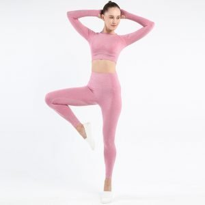 seamless activewear pink long sleeves yoga leggings tops sets