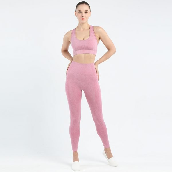 seamless bra legging set pink