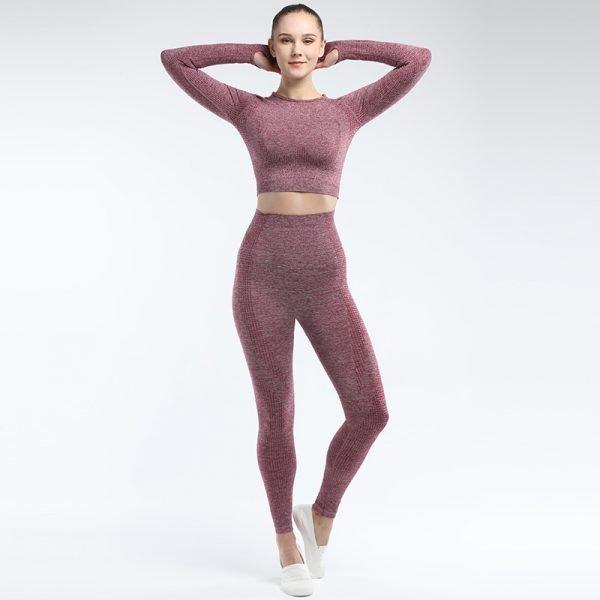 seamless activewear wine yoga leggings long sleeves tops sets