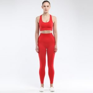 Seamless bra legging set red Super
