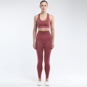 Seamless bra legging set rust red Super