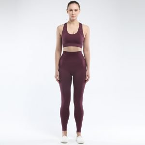 Seamless bra legging set wine Super