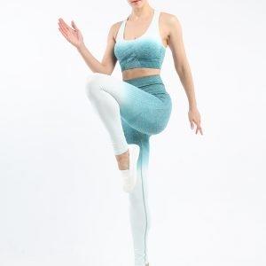 Seamless wear bra legging set blue green Change