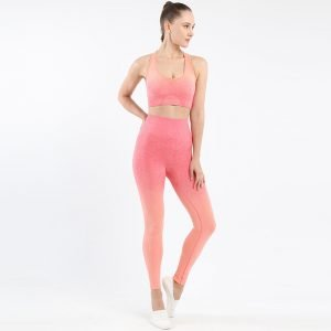 Seamless wear bra legging set orange red Change