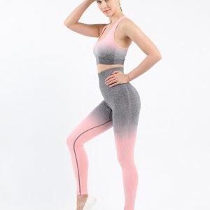 Seamless wear bra legging set pink Change