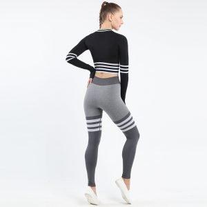 Seamless wear multifunctional legging set black Triunity
