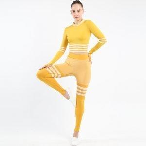 Seamless wear multifunctional legging set yellow Triunity