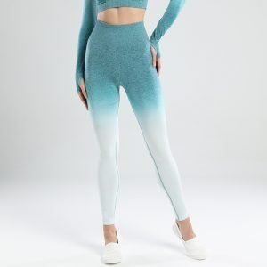 Seamless yoga leggings blue green Change