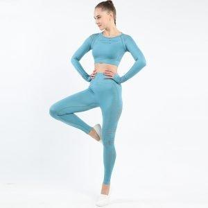 Seamless yoga set blue Space