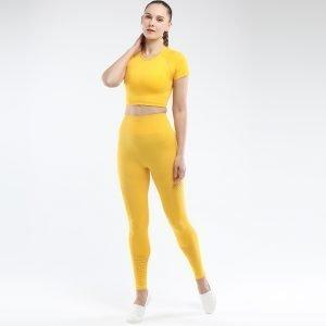 Seamless yoga set for women yellow Park