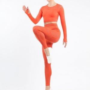 Seamless yoga set orange red Space