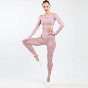 Seamless yoga set light pink Space