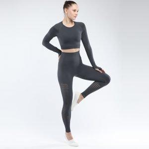 Seamless yoga set women fitness clothing grey Park