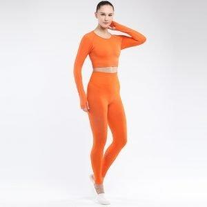 Seamless yoga set women fitness clothing orange Park